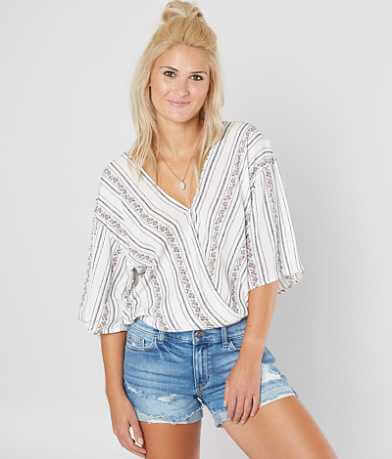 Daytrip Striped Surplice Top