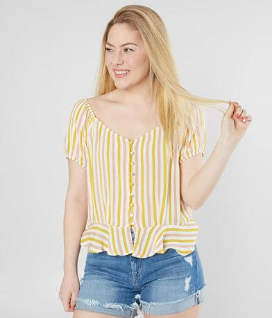 Gypsies & Moondust Striped Peplum Top