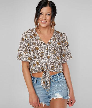 554ba6361af680 Gypsies   38  Moondust Button Down Cropped Top