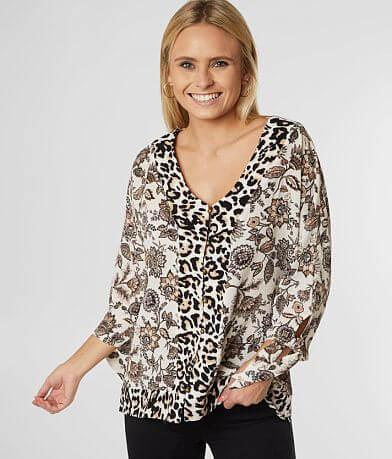 Daytrip Floral Leopard Gauze Top