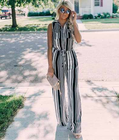 BeBop Striped Wide Leg Jumpsuit
