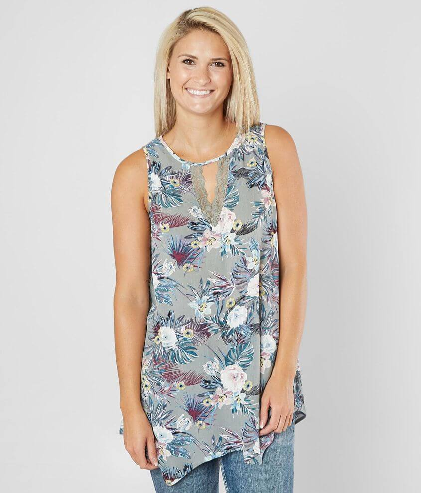 Daytrip Floral Tunic Tank Top front view