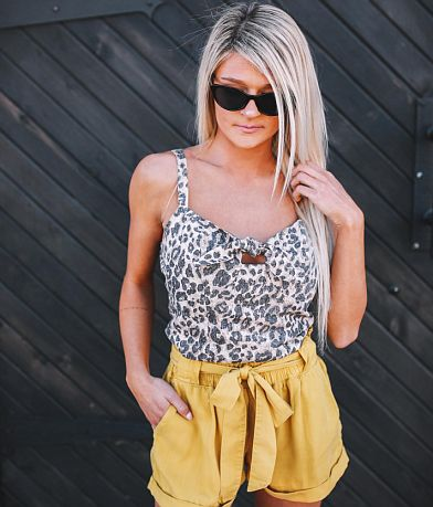 Willow & Root Leopard Cropped Tank Top