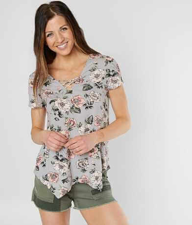Daytrip Floral Lace-Up Top