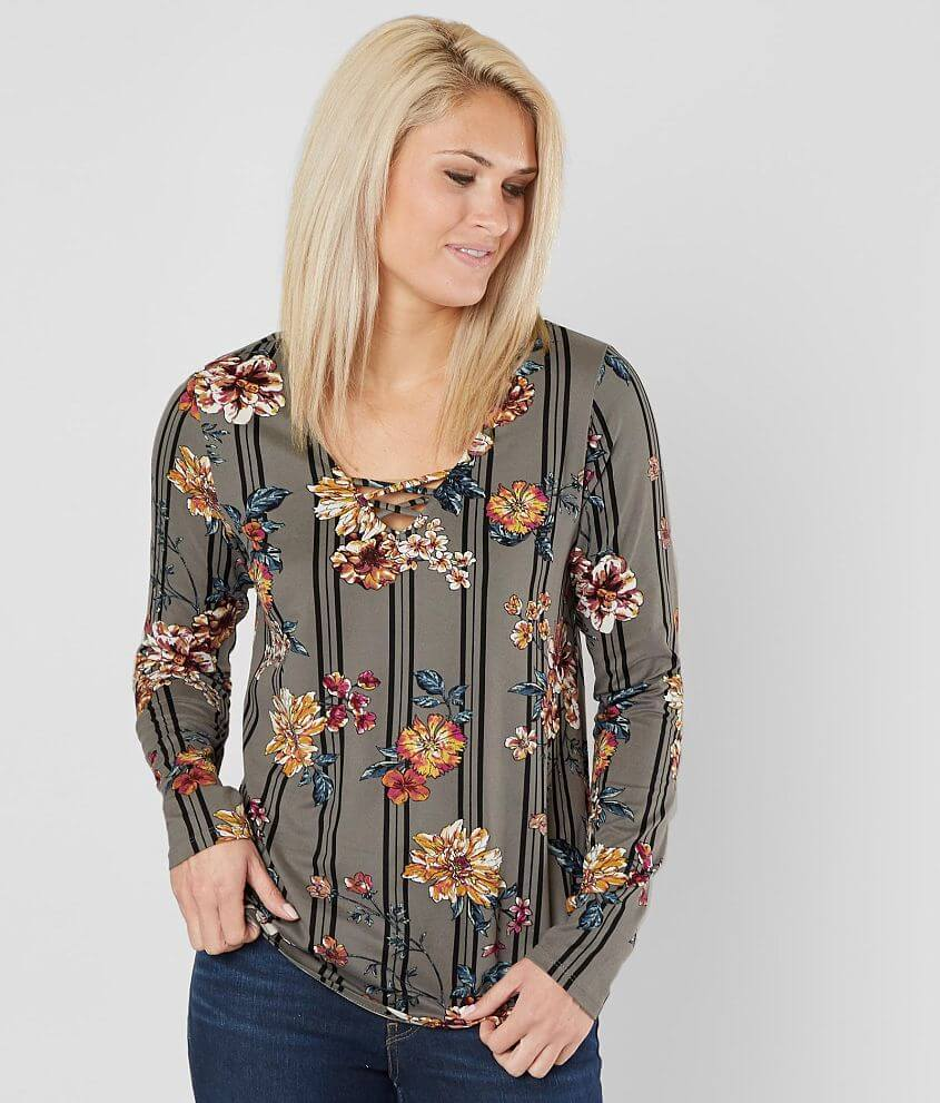 Daytrip Floral Striped Top front view