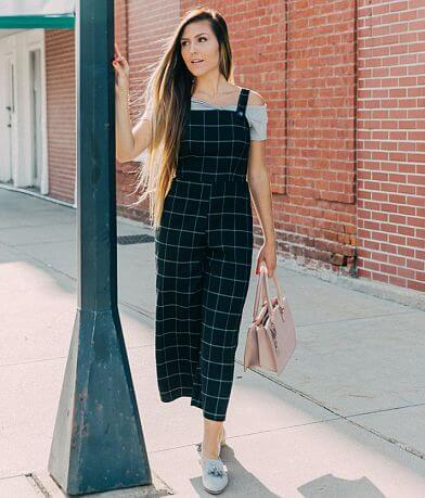 BeBop Plaid Wide Leg Cropped Jumpsuit