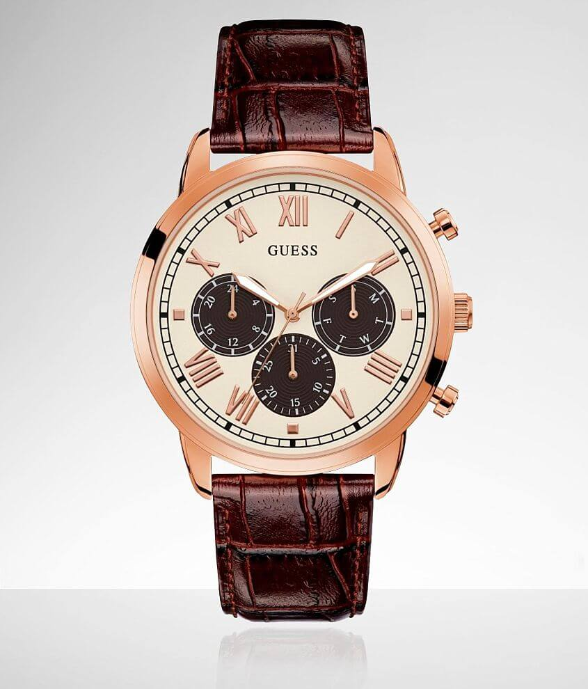 Guess Hendrix Leather Watch front view