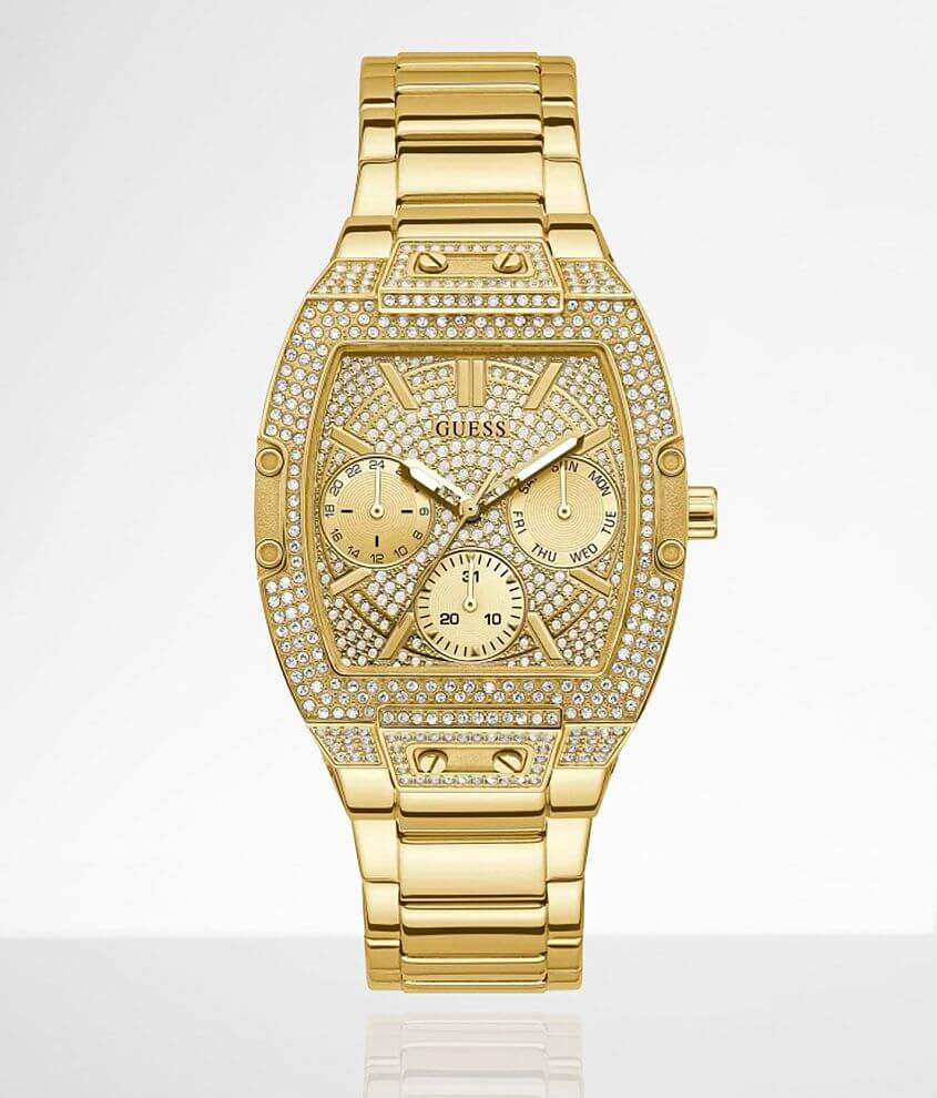 Guess Gold Tone Glitz Watch front view