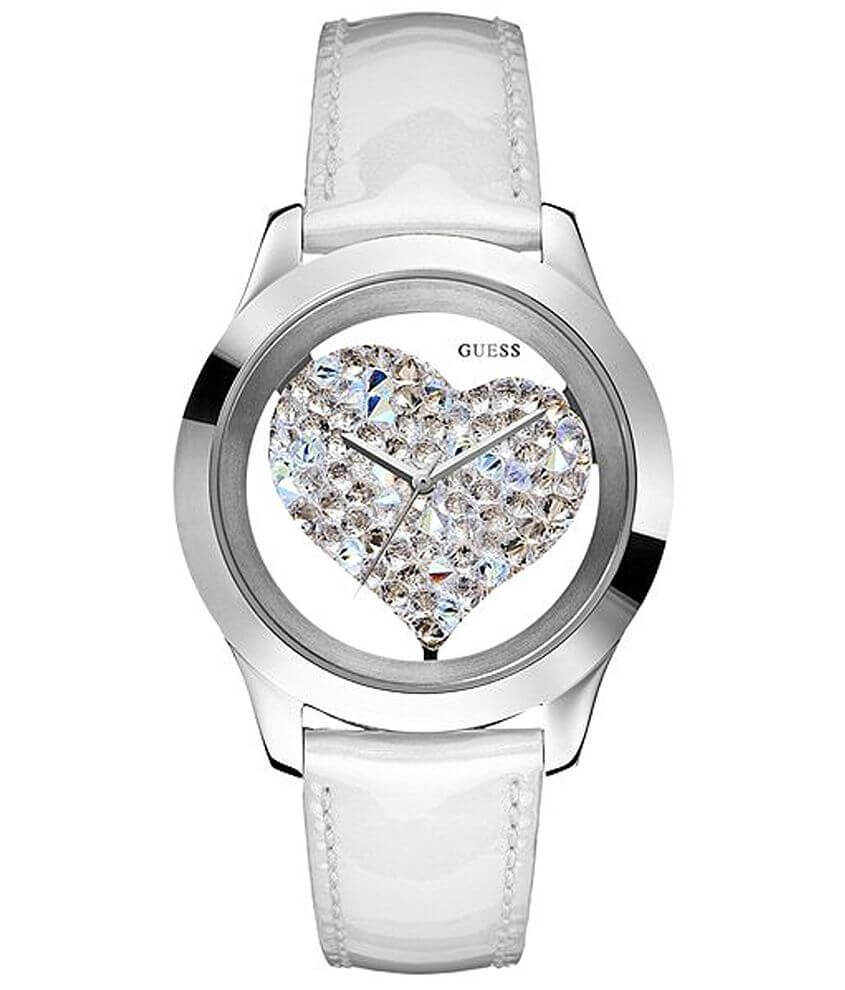 Guess Rhinestone Heart Watch front view