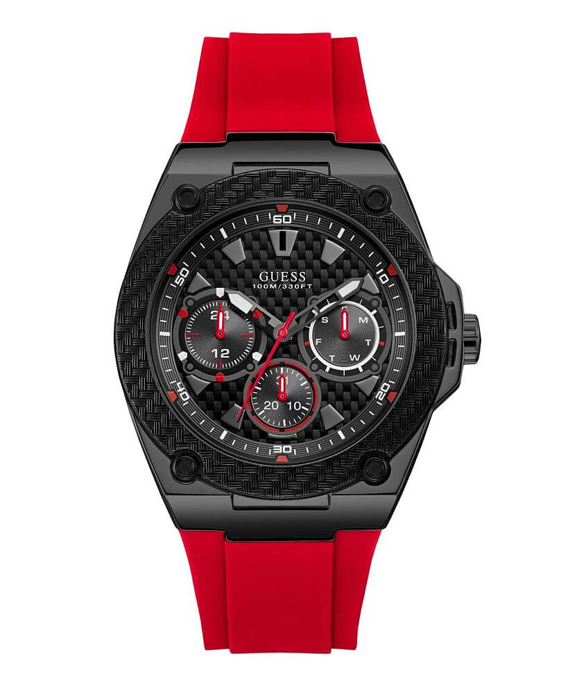 a408729309 Guess Textured Dial Watch - Men's Watches in Red | Buckle