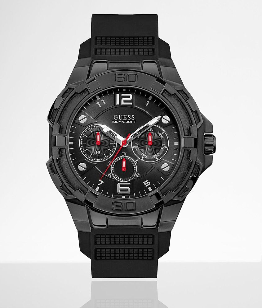 Guess Black Silicone Watch front view