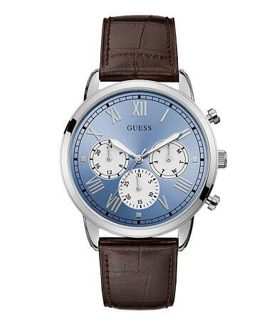 Guess Blue-Tone Leather Watch
