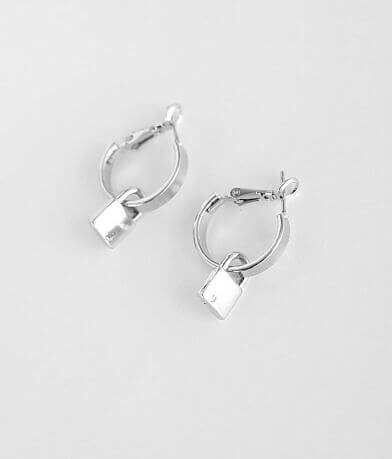 BKE Lock Pendant Hoop Earring