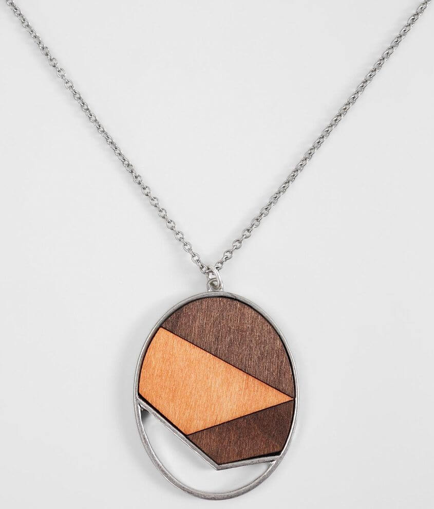 BKE Wood Pendant Necklace front view