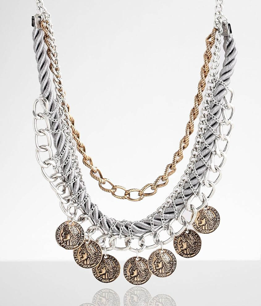 BKE Statement Coin Necklace front view