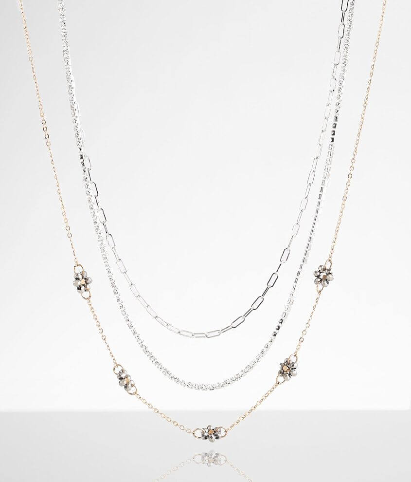 BKE 3 Pack Flower Necklace Set front view