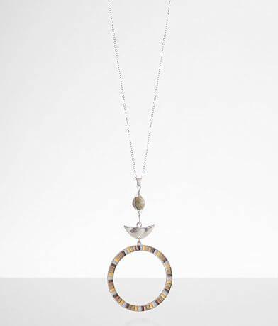 BKE Circle Stone Bead Pendant Necklace