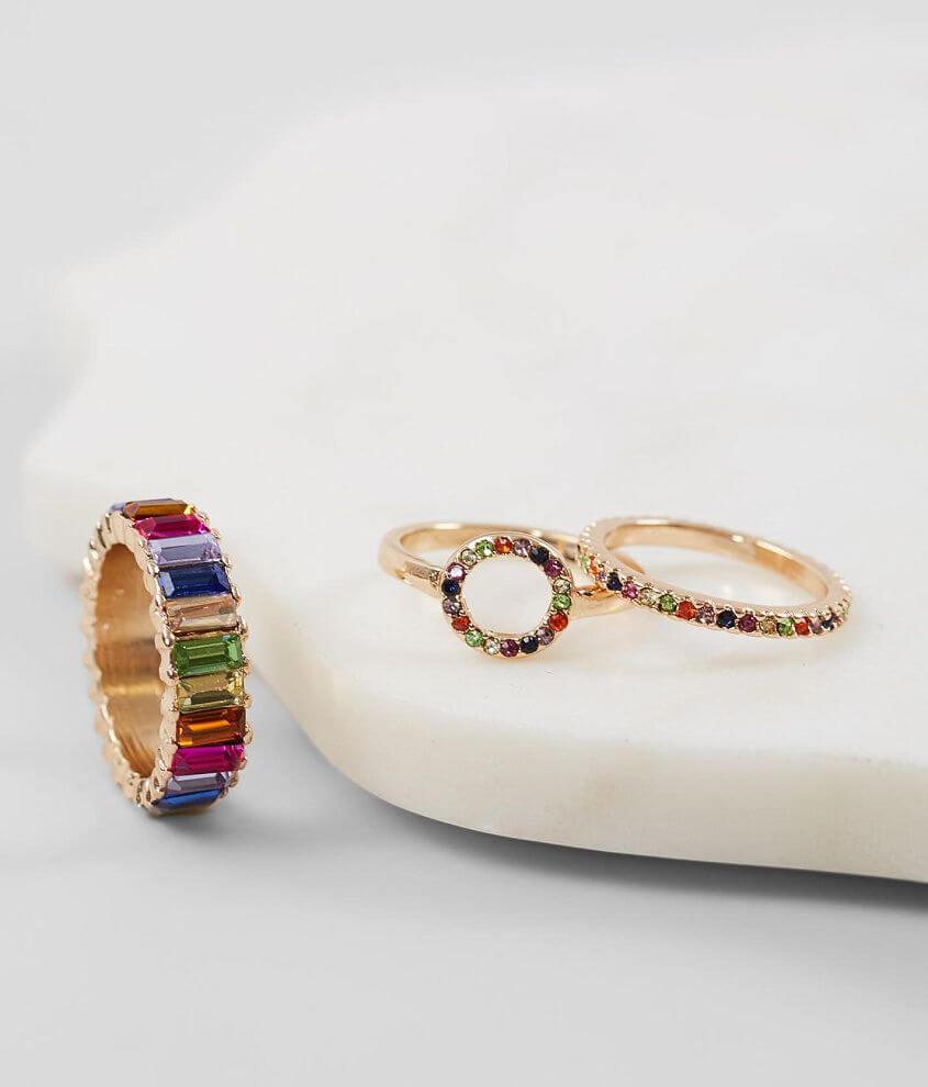 Set of three rhinestone rings