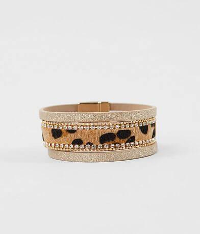 BKE Leopard Faux Fur Glitz Bracelet
