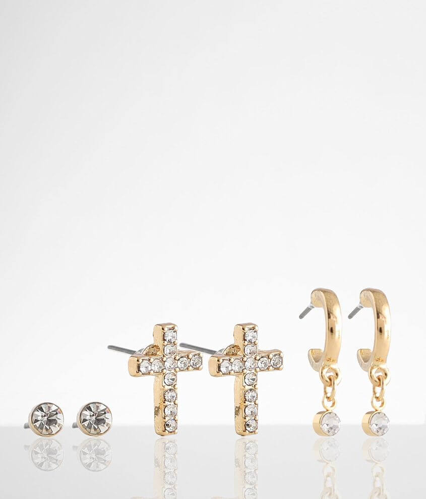 BKE Glitz 3 Pack 18k Gold Plated Stud Earring Set front view