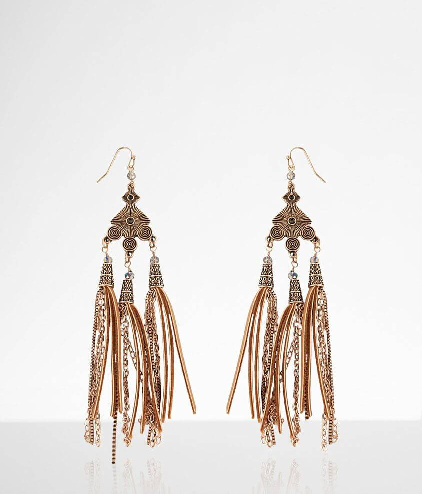 Rhinestone and chain drop earring Drop measures 5 3/4\\\