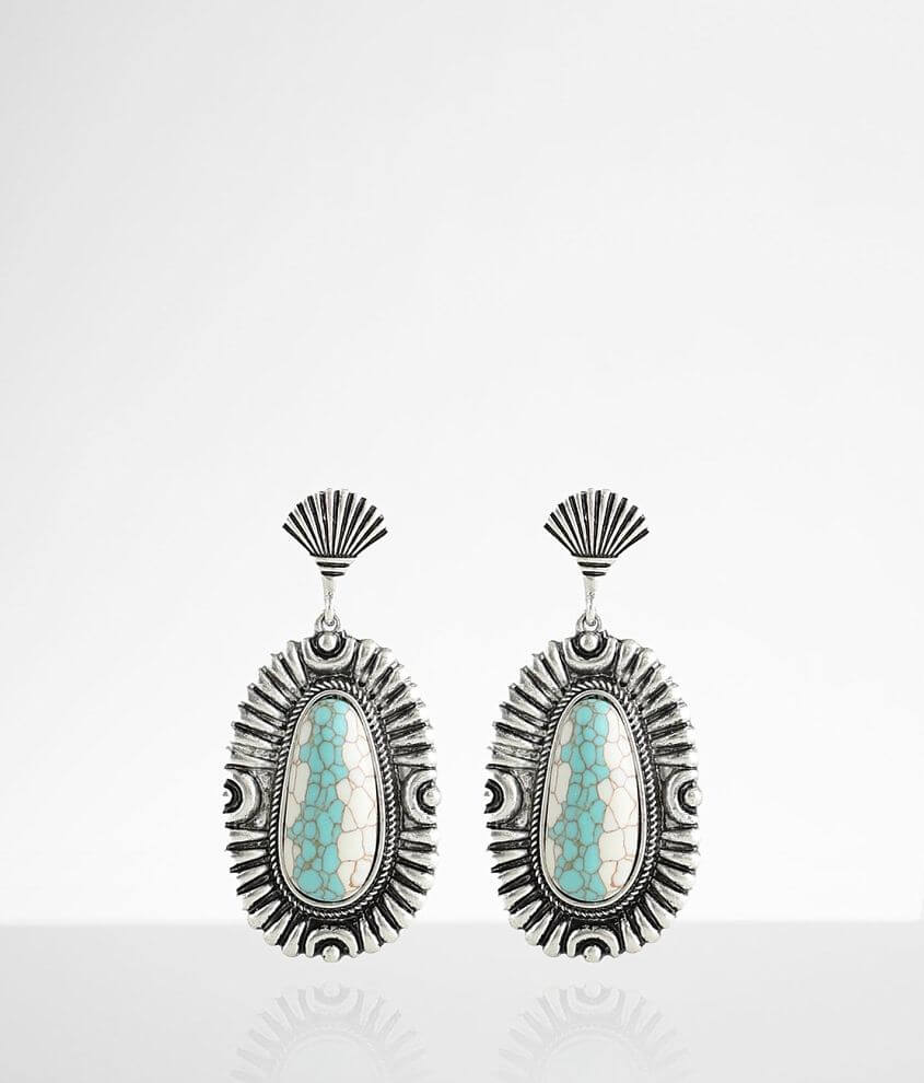 BKE Turquoise Statement Earring front view