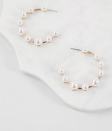 BKE Faux Pearl Hoop Earring