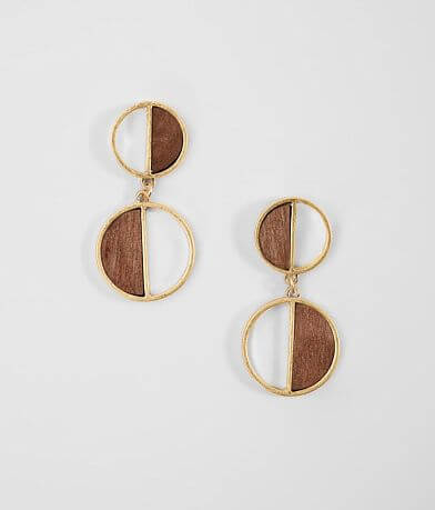 BKE Wood Circle Earrings