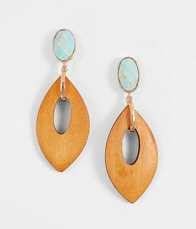 BKE Turquoise & Wood Cut-Out Earring