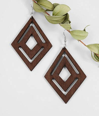 BKE Cut-Out Wood Earrings