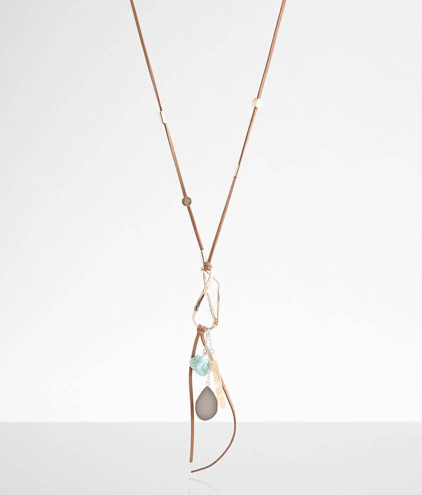 BKE Multi Stone Pendant Necklace front view
