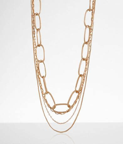 BKE Paperclip Chain Tiered Necklace