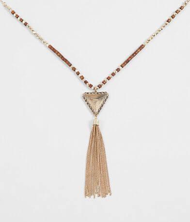 BKE Wooden Beaded Tassel Necklace
