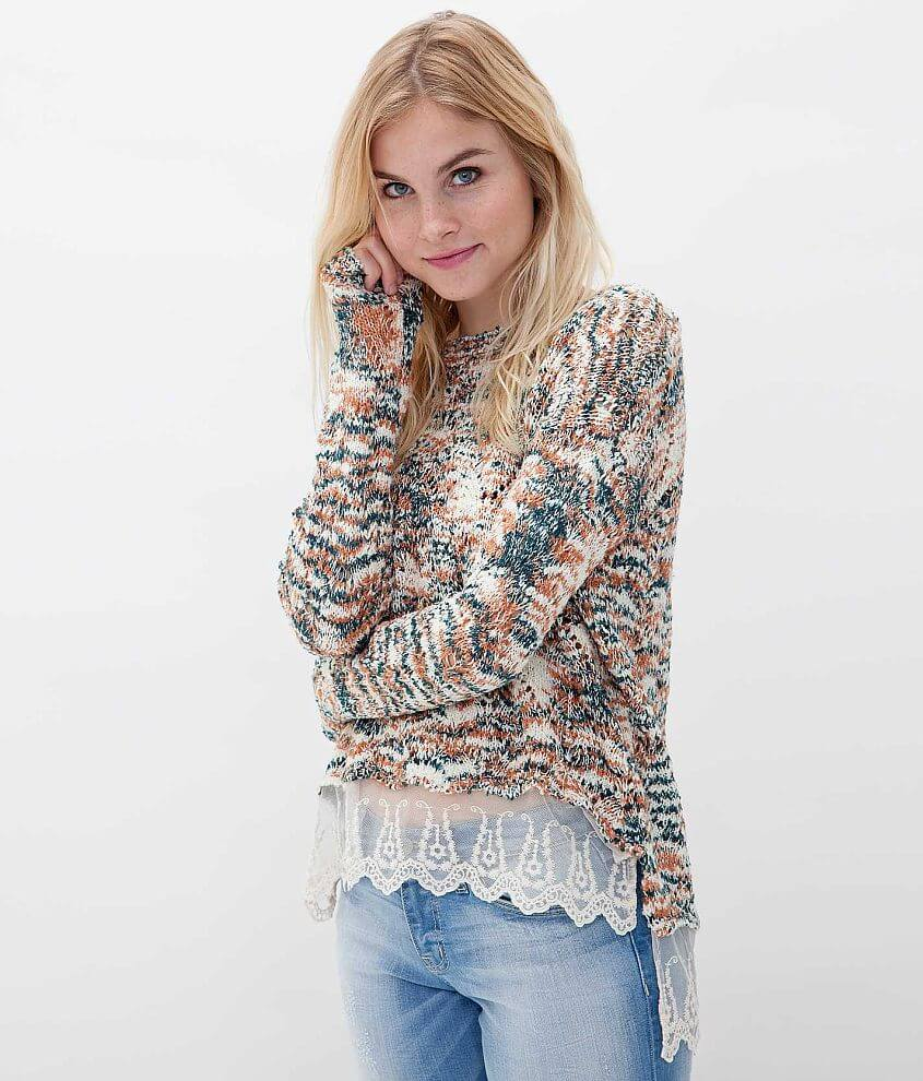 Gimmicks by BKE Open Weave Sweater front view