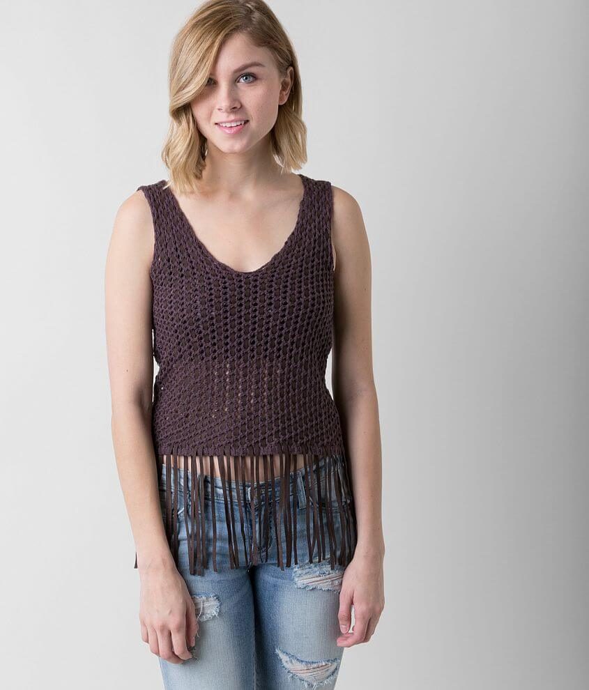 Gimmicks Open Weave Tank Top front view
