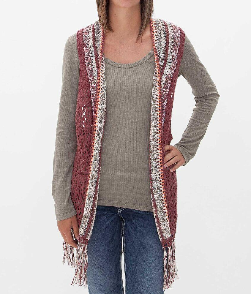 Gimmicks by BKE Open Weave Sweater Vest front view