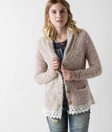 Gimmicks Eyelash Yarn Cardigan Sweater