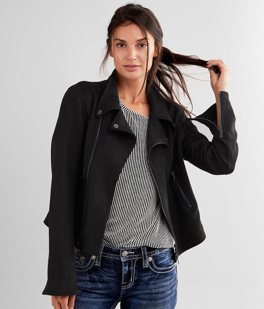 Daytrip Faux Suede Moto Jacket front view