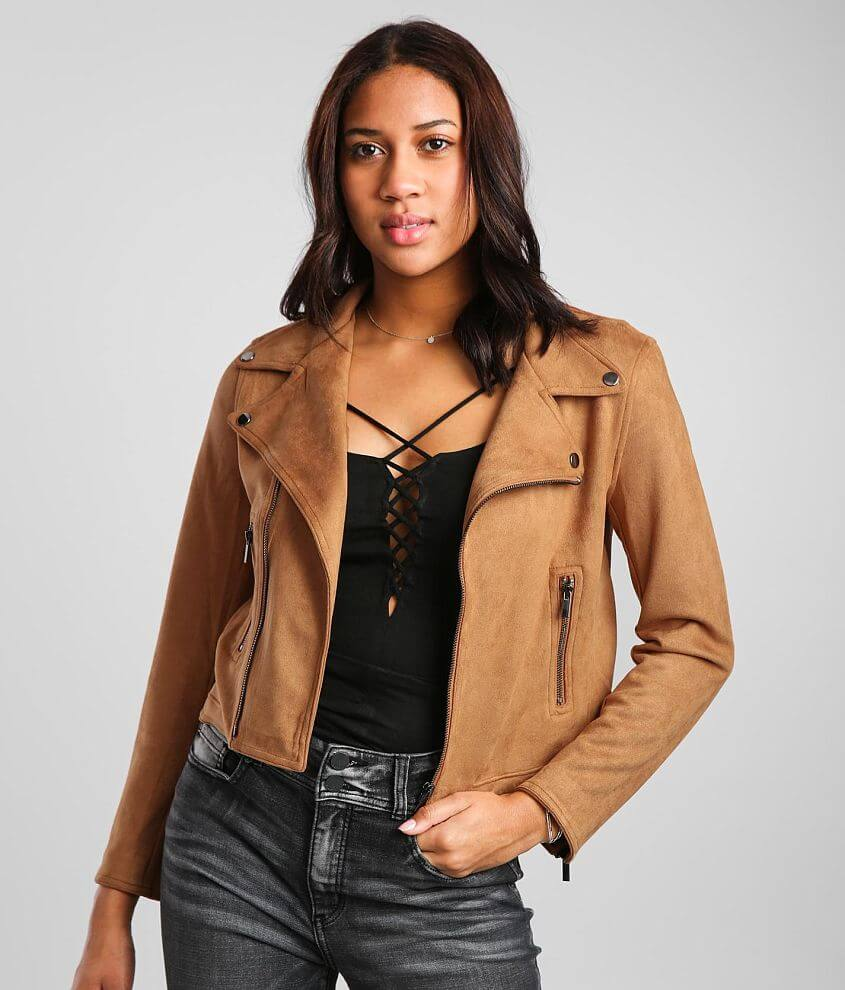 Shinestar Faux Suede Moto Jacket front view