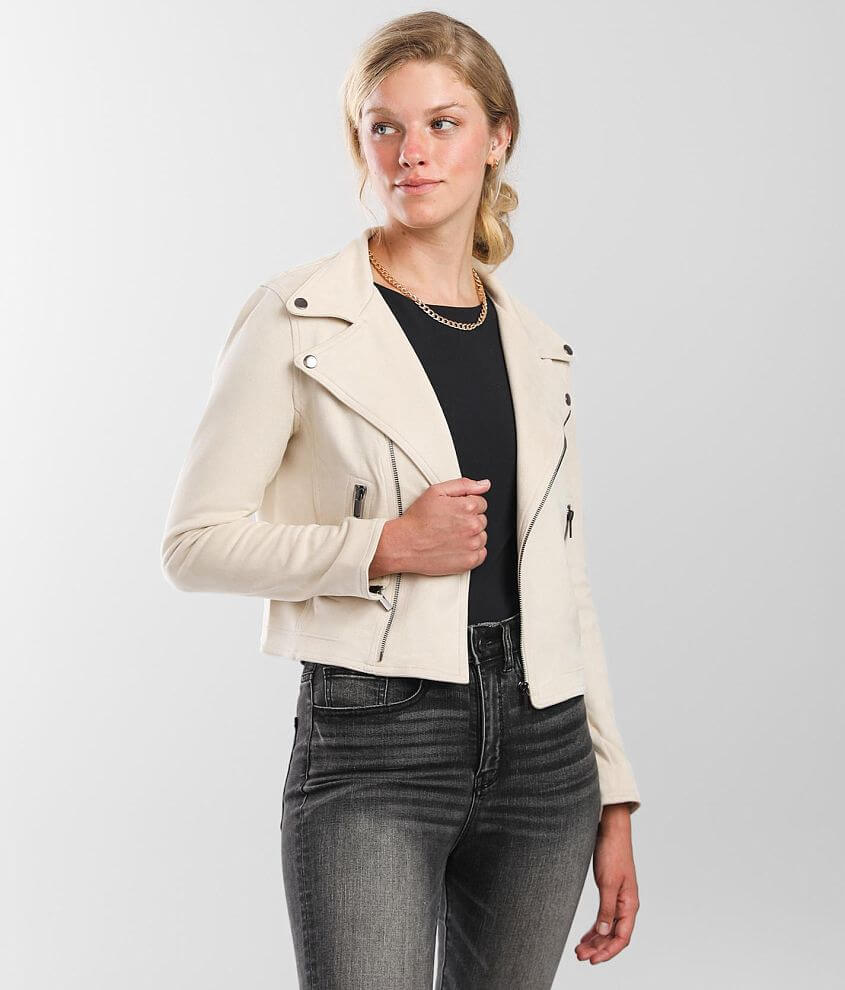 Shinestar Faux Suede Jacket front view