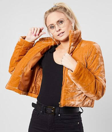 Shinestar Velvet Cropped Puffer Jacket