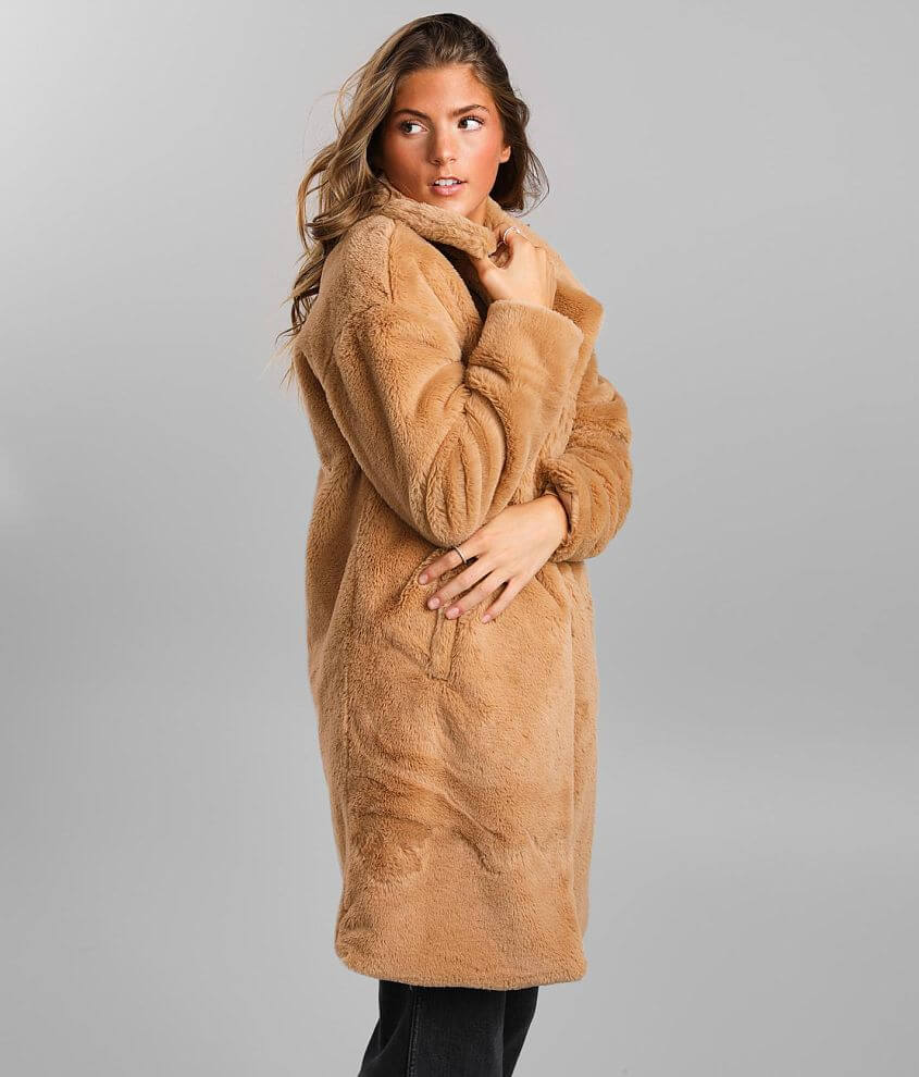 BKE Plush Trench Coat front view