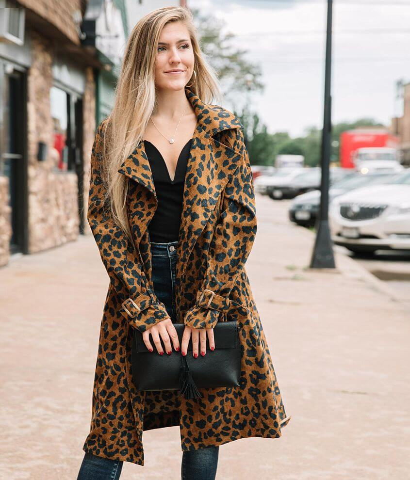 Willow & Root Cheetah Trench Jacket front view