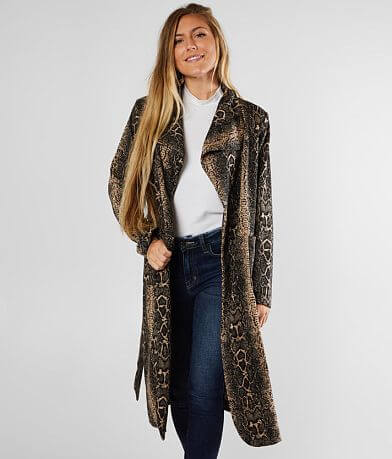 Shinestar Snake Print Trench Jacket