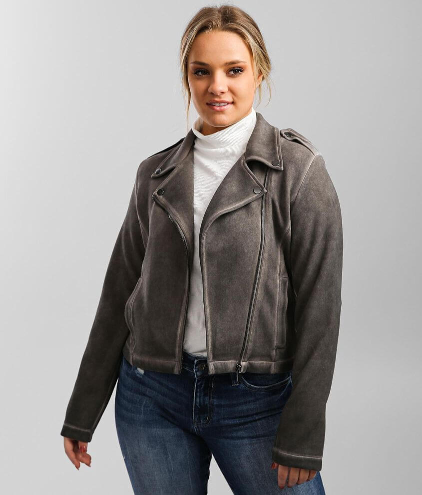 BKE Faux Suede Moto Washed Jacket front view