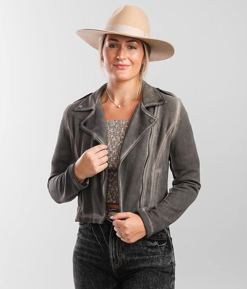 Shinestar Washed Faux Suede Jacket front view