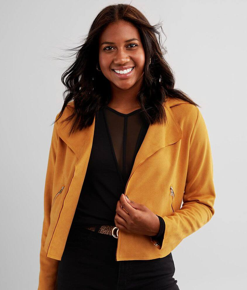 Daytrip Faux Suede Cropped Jacket front view