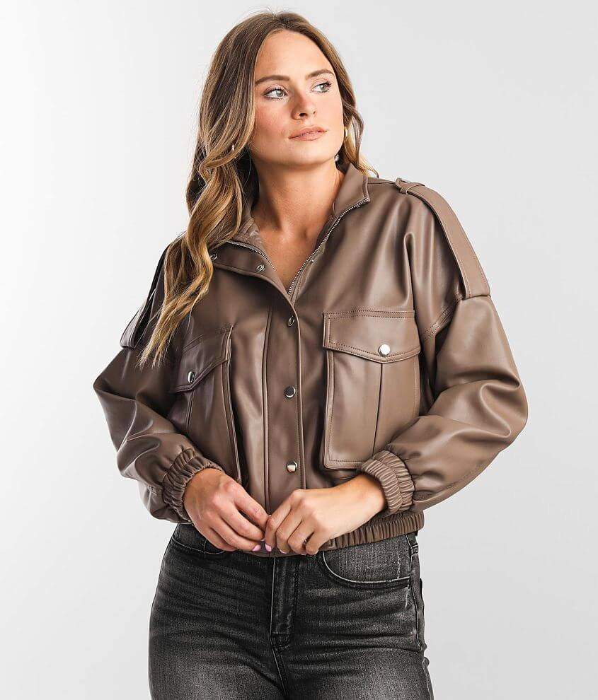 Shinestar Faux Leather Jacket front view
