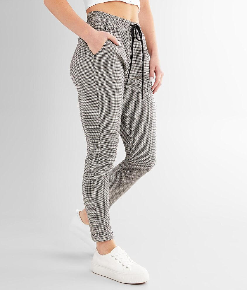 Shinestar Plaid Jogger Stretch Pant front view