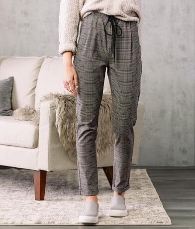 Shinestar Plaid Jogger Stretch Pant